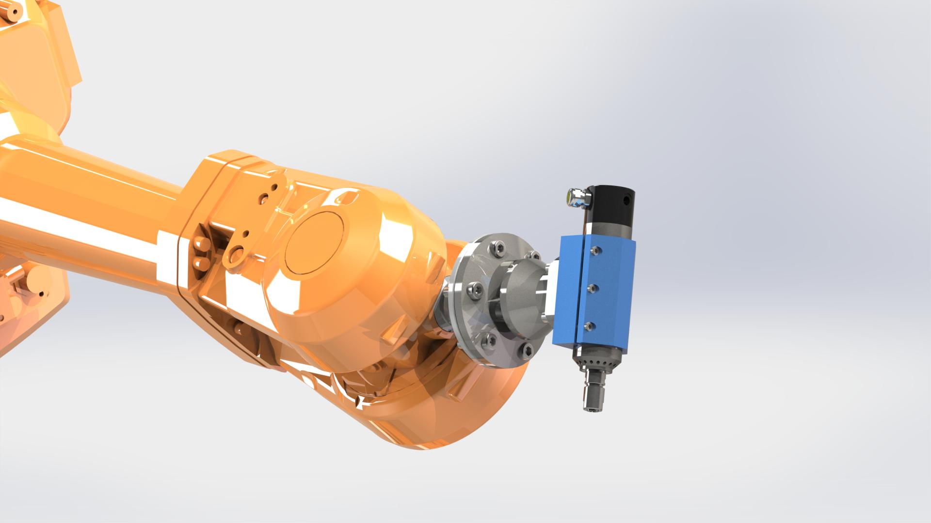 Spindelhållare med adapter anpassad till ABB IRB4600